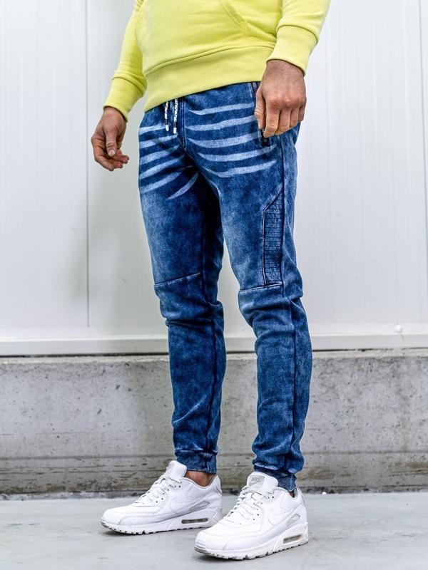 Spodnie jeansowe joggery męskie granatowe Denley KK1063