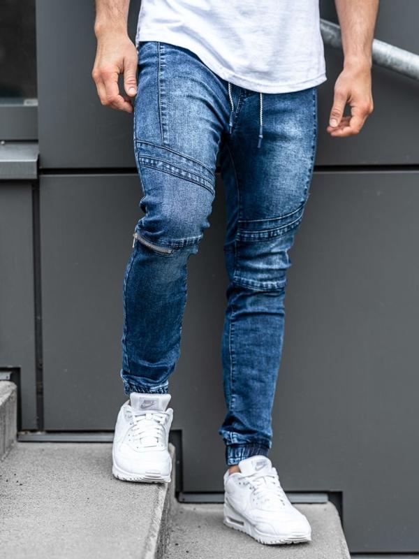 Spodnie jeansowe joggery męskie granatowe Denley KS565