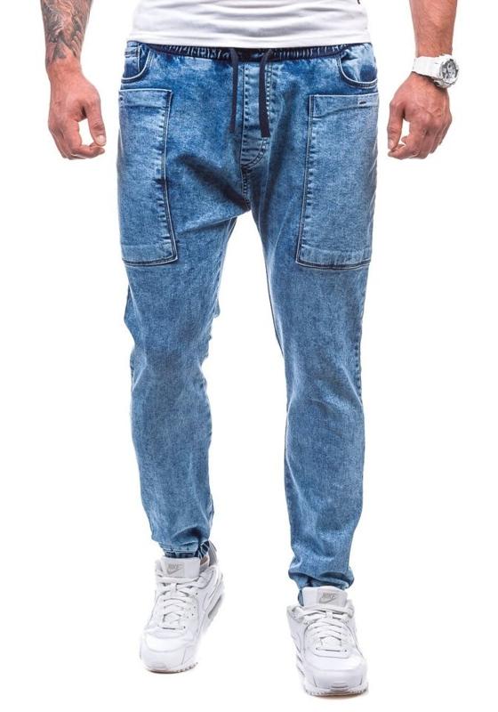 Spodnie jeansowe joggery męskie niebieskie Denley 809