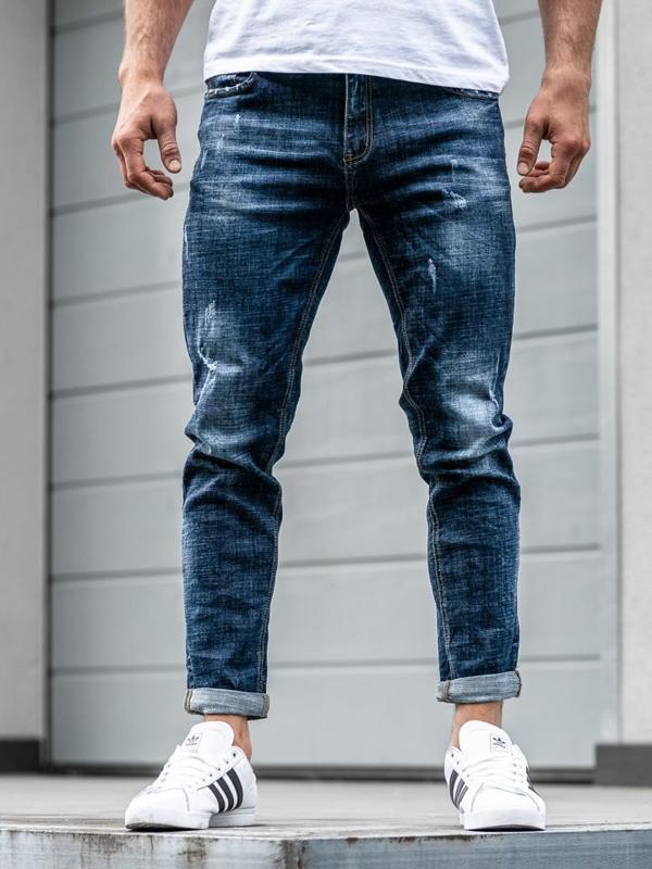 Spodnie jeansowe joggery męskie relaxed fit granatowe Denley  KX271