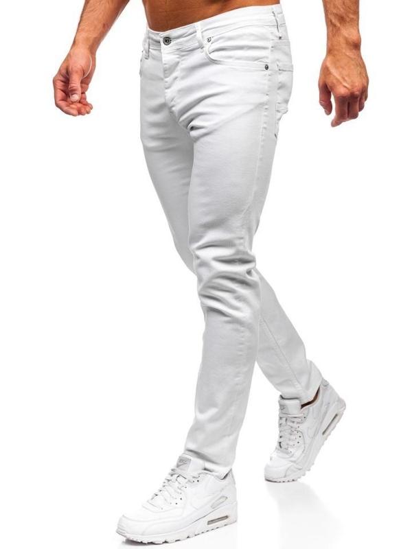 Spodnie jeansowe męskie białe Denley 55021