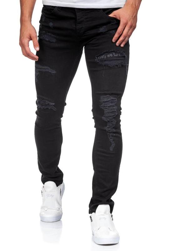 Spodnie jeansowe męskie czarne Denley 396