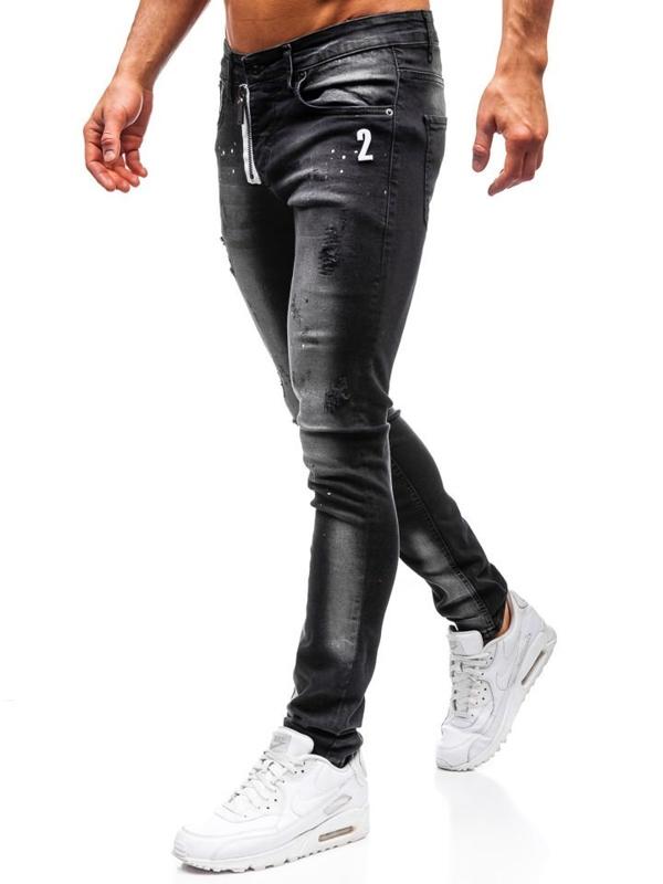 Spodnie jeansowe męskie czarne Denley 9243