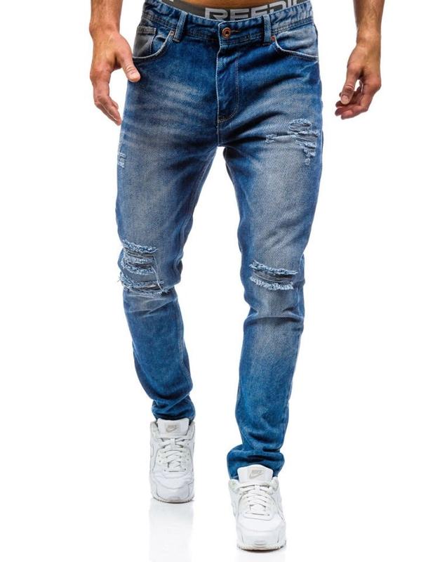 Spodnie jeansowe męskie niebieskie Denley 0165
