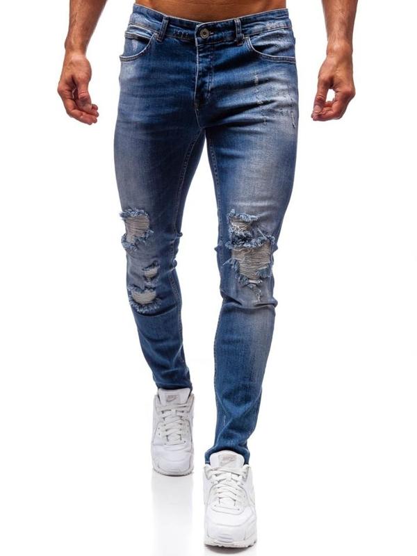 Spodnie jeansowe męskie niebieskie Denley 1009