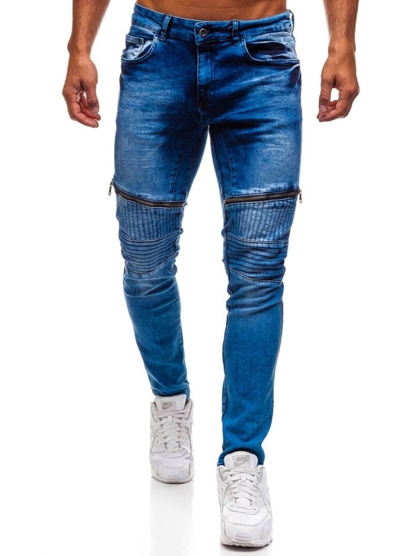 Spodnie jeansowe męskie niebieskie Denley 1708