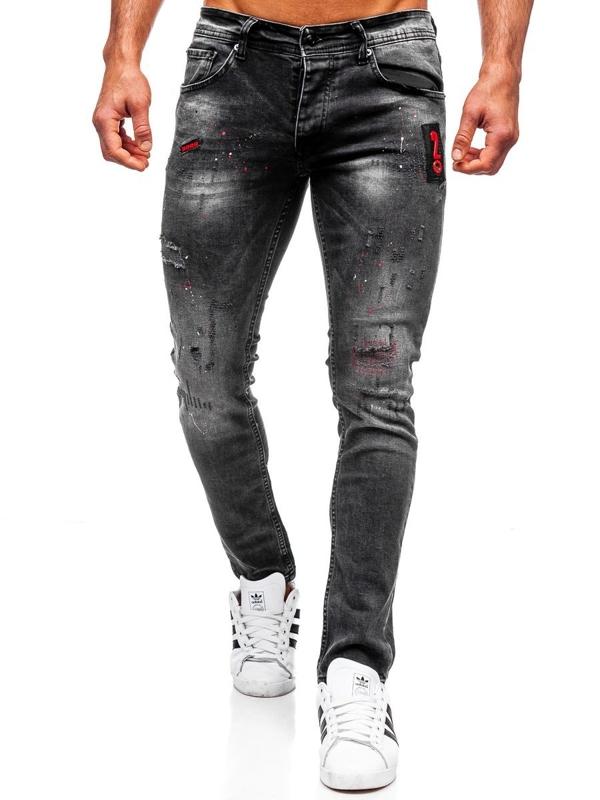 Spodnie jeansowe męskie regular fit czarne Denley 4014