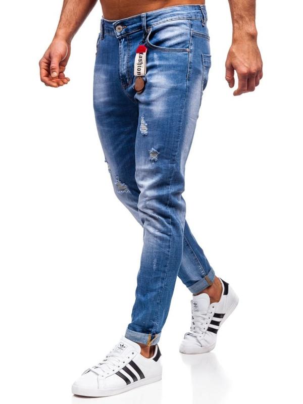 Spodnie jeansowe męskie regular fit granatowe Denley KX297