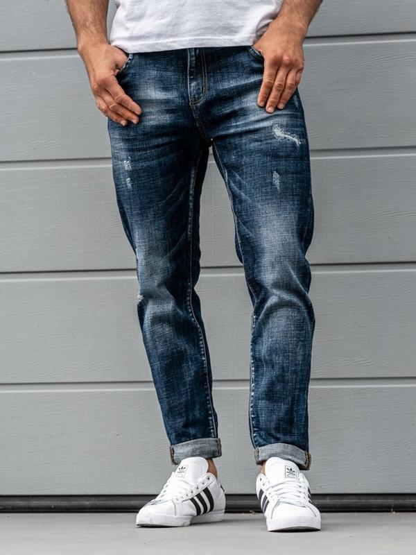 Spodnie jeansowe męskie relaxed fit granatowe Denley KX273