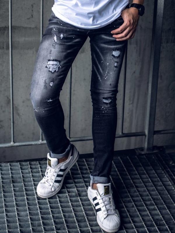Spodnie jeansowe męskie skinny fit czarne Denley 9234