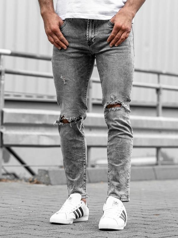 Spodnie jeansowe męskie slim fit czarne Denley KA897