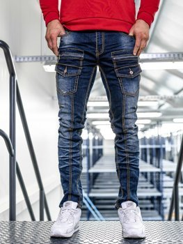 Spodnie jeansowe męskie slim fit granatowe Denley KA9917