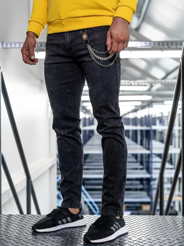 Spodnie jeansowe męskie straight leg czarne Denley KA1232-1