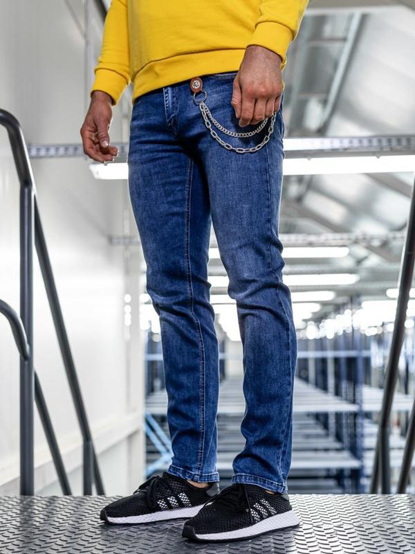 Spodnie jeansowe męskie straight leg granatowe Denley KA1261