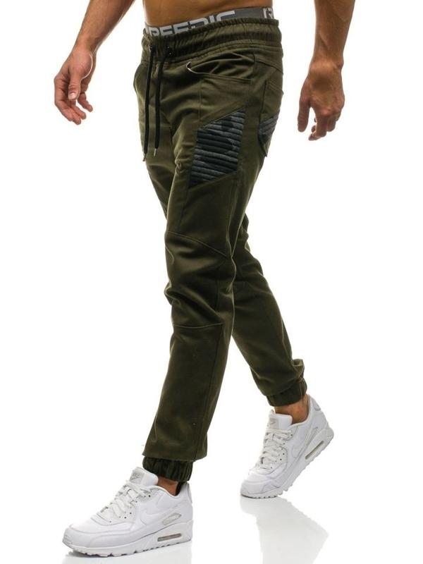 Spodnie joggery męskie khaki Denley 0706