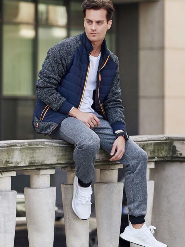 Stylizacja nr 328 - zegarek, bluza rozpinana, longsleeve, spodnie joggery