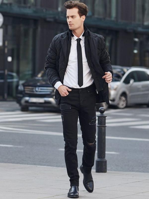 Stylizacja nr 329 - kurtka przejściowa, koszula, spodnie jeansowe
