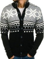 Sweter męski rozpinany czarny Denley 585