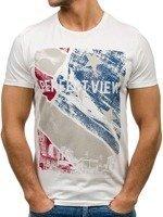 T-shirt męski z nadrukiem biały Denley 7428
