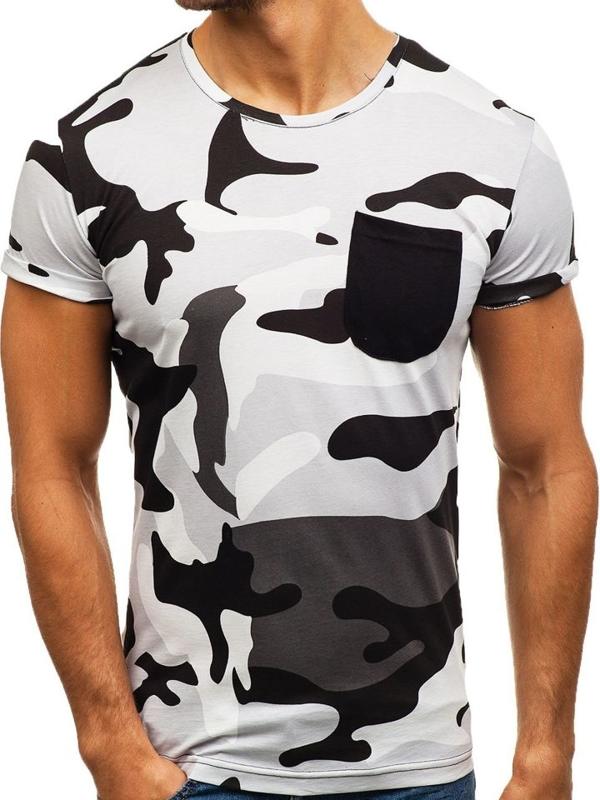 T-shirt męski z nadrukiem moro-szary Denley 1026