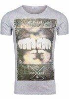 T-shirt męski z nadrukiem szary Denley 1322