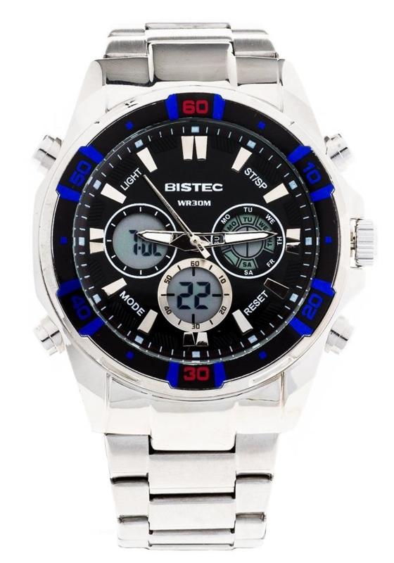 Zegarek męski na rękę stalowy czarno-niebieski Denley 202