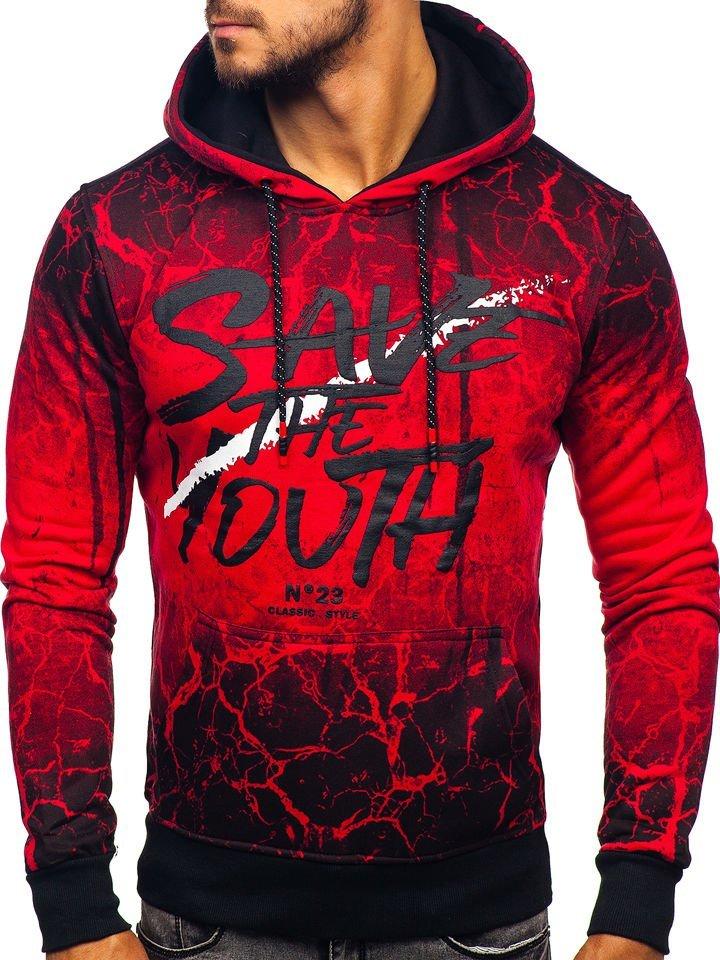bluza męska z kapturem z nadrukiem czerwona denle