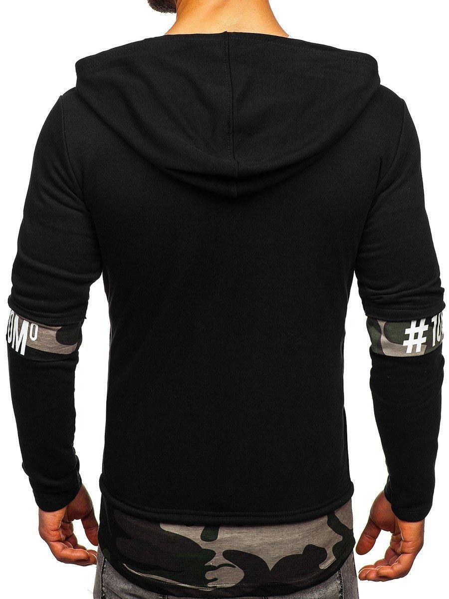 bc2772e34e4463 Długa bluza męska z kapturem rozpinana czarna Denley 171407