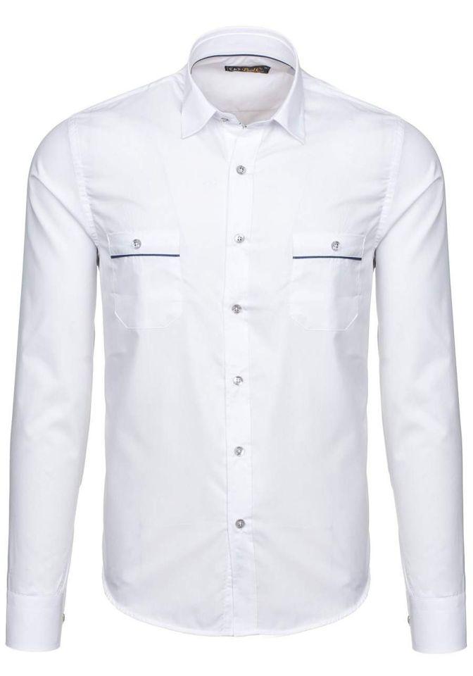 Koszula męska elegancka z długim rękawem biała Bolf 5821 1