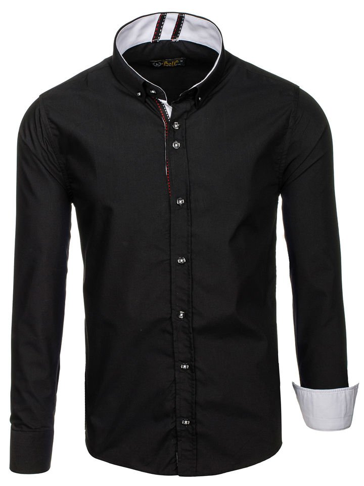 acd3398e59599 Koszula męska elegancka z długim rękawem czarna Bolf 8820