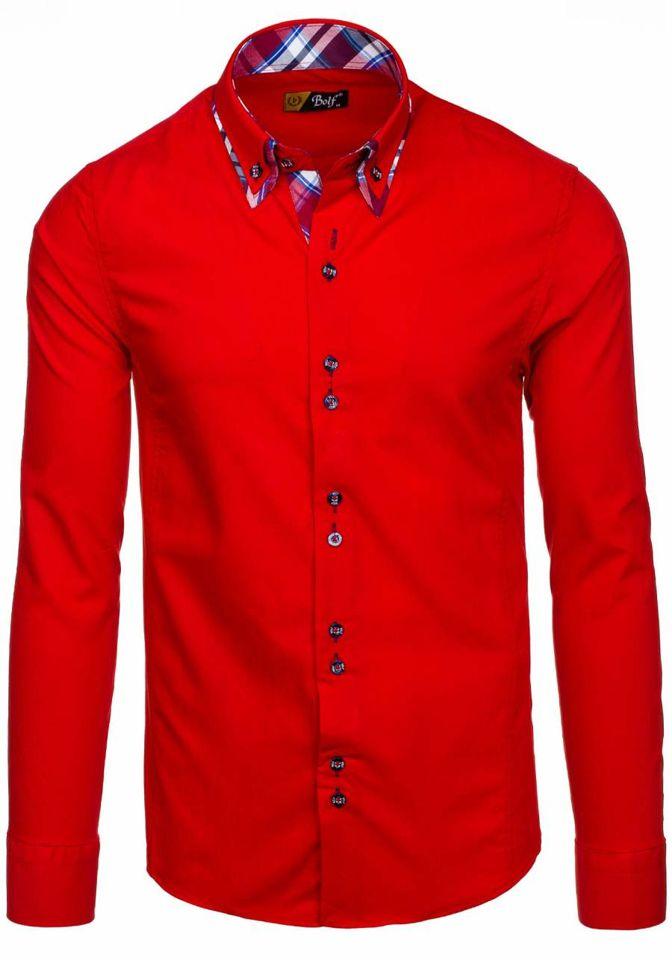 Koszula męska elegancka z długim rękawem czerwona Bolf 4704  655gM