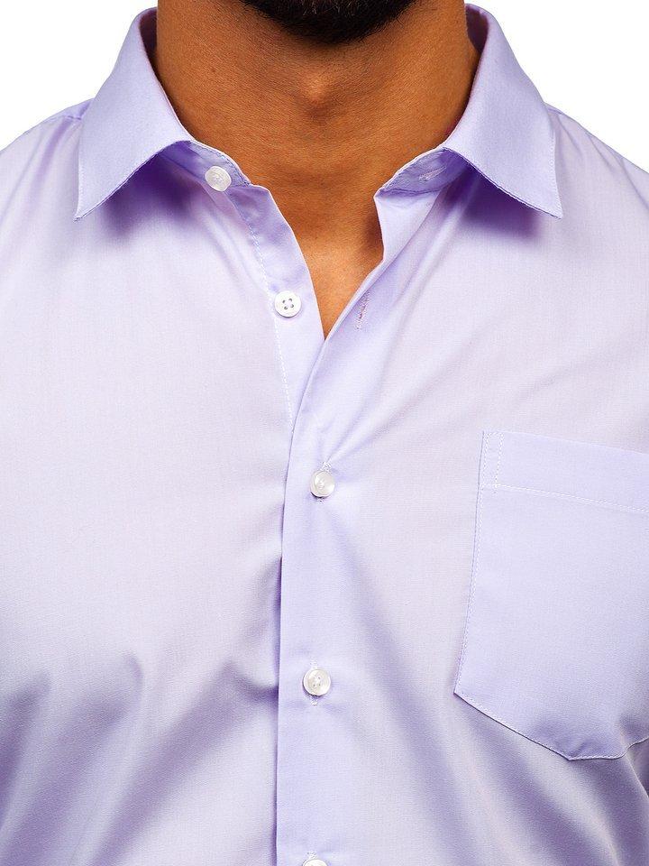 Koszula męska elegancka z długim rękawem jasnofioletowa  UPgiz