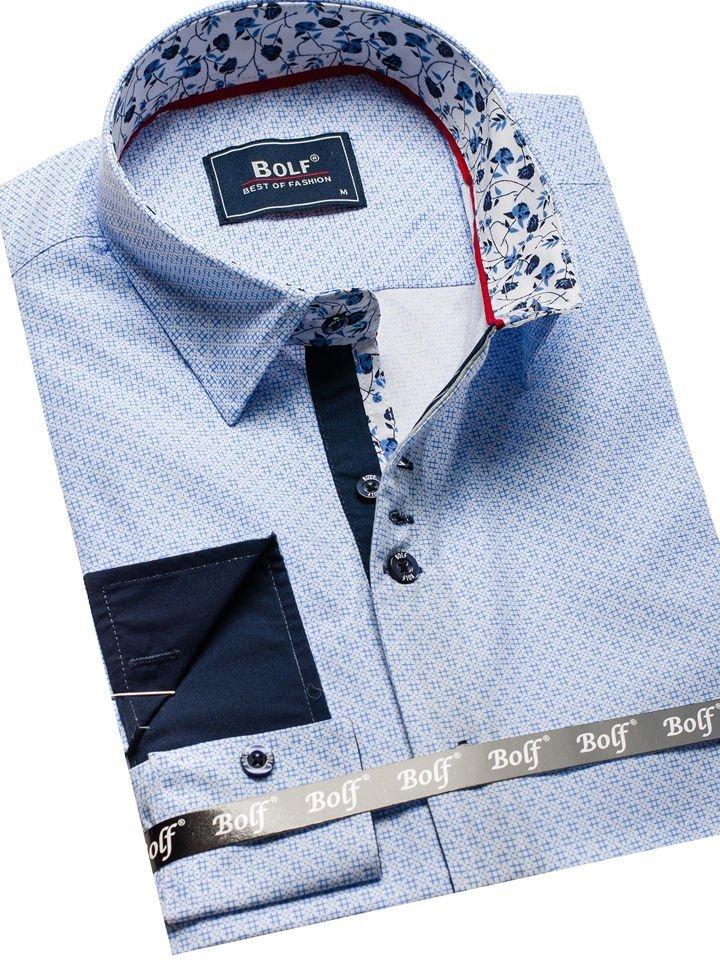 340da576bfbad9 Koszula męska we wzory z długim rękawem biało-niebieski Bolf 9703