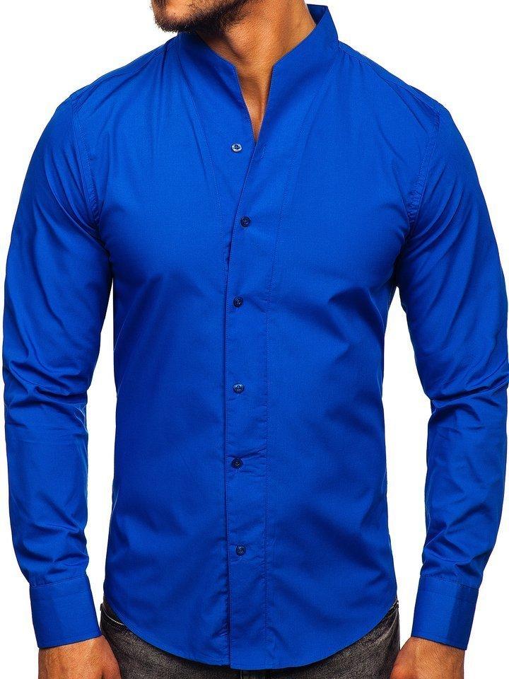 Koszula męska z długim rękawem kobaltowa Bolf 5702  1P1pC