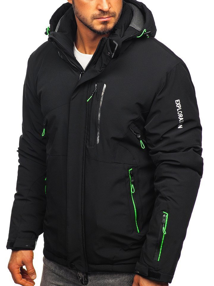 Kurtka męska zimowa narciarska czarno zielona Denley 1910