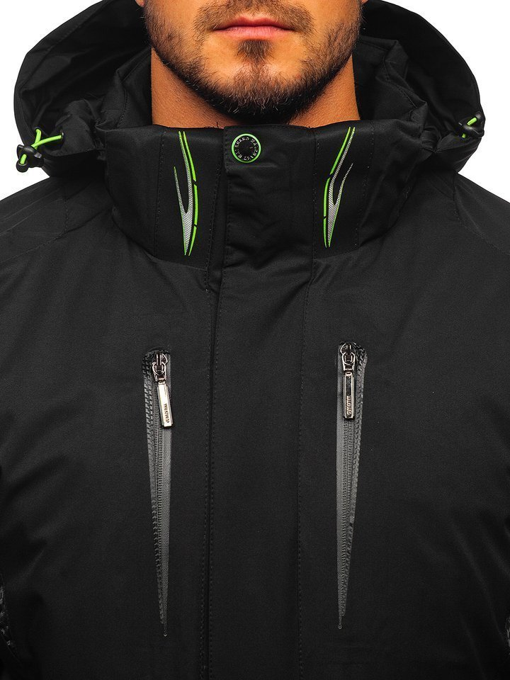 Kurtka męska zimowa narciarska czarno zielona Denley A5625