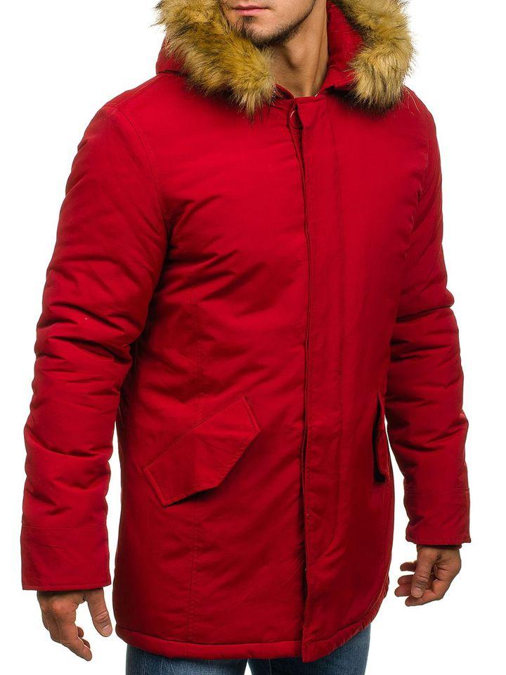 aead1856c3bf2 Kurtka męska zimowa parka czerwona Denley YT303