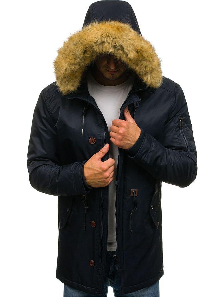 Kurtka męska zimowa parka granatowa Denley 1049