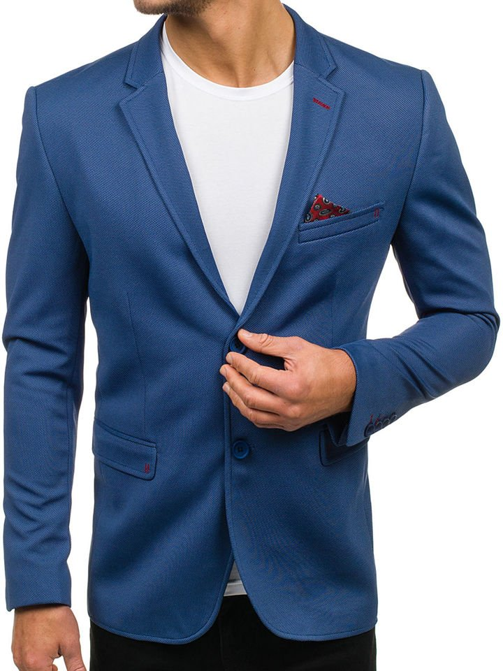 8306b386d5d87 Marynarka męska elegancka jasnoniebieska Denley 303