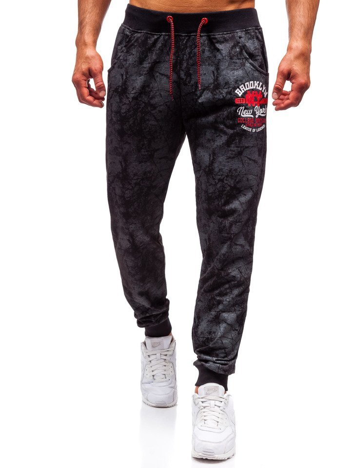 a9c93773d18382 Spodnie męskie dresowe joggery czarne Denley MK18