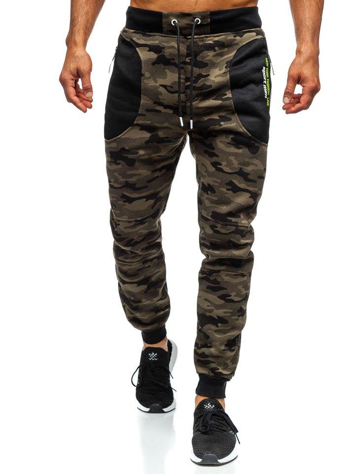 a50e41c3184dbb Spodnie męskie dresowe joggery moro zielone Denley TC876