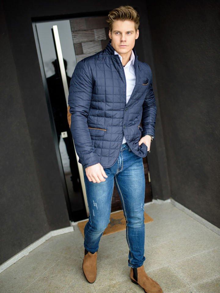 7c3bad84bfb8db Stylizacja nr 159 - kurtka przejściowa, elegancka koszula męska, spodnie  jeansowe