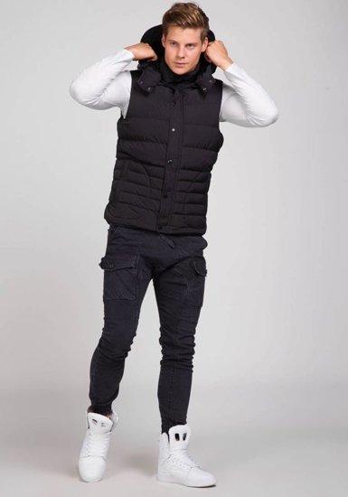 Bezrękawnik męski z kapturem pikowany czarny Denley 501