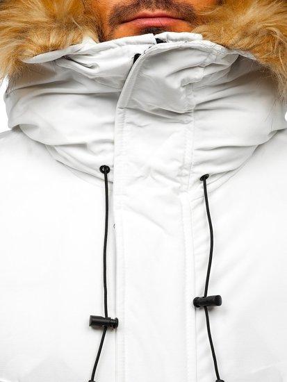 Biała kurtka męska zimowa parka Denley 1173