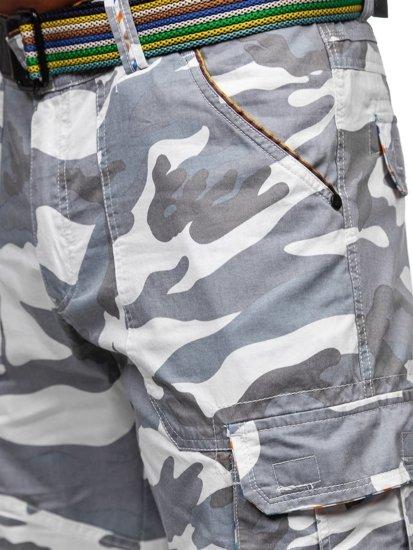 Białe szorty krótkie spodenki męskie bojówki moro z paskiem Denley AR5906