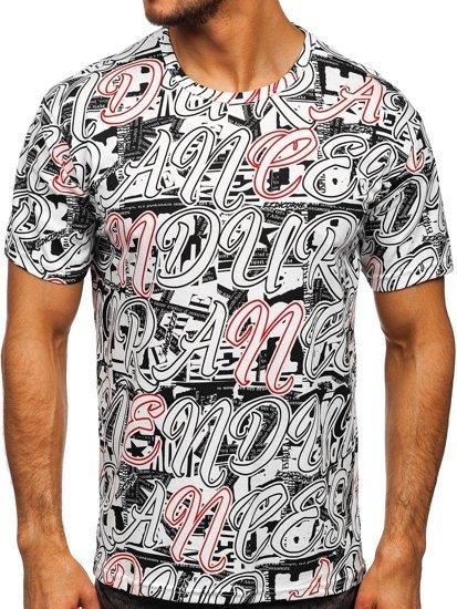 Biały T-shirt męski z nadrukiem Denley 14906