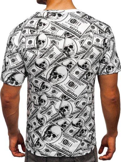 Biały T-shirt męski z nadrukiem Denley 14907