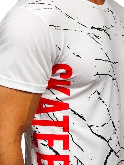 Biały T-shirt męski z nadrukiem Denley KS1973