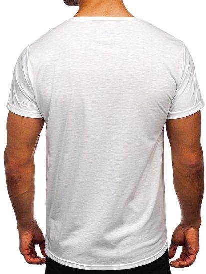 Biały T-shirt męski z nadrukiem Denley KS2552