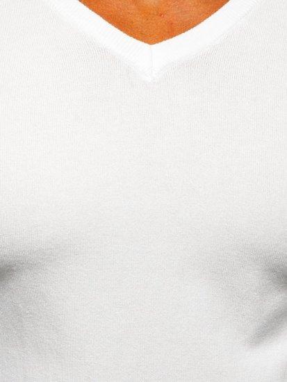 Biały sweter męski w serek Denley YY03